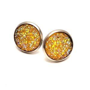 ⭐️2/$12 Golden Yellow DRUZY STUD 12mm Earrings